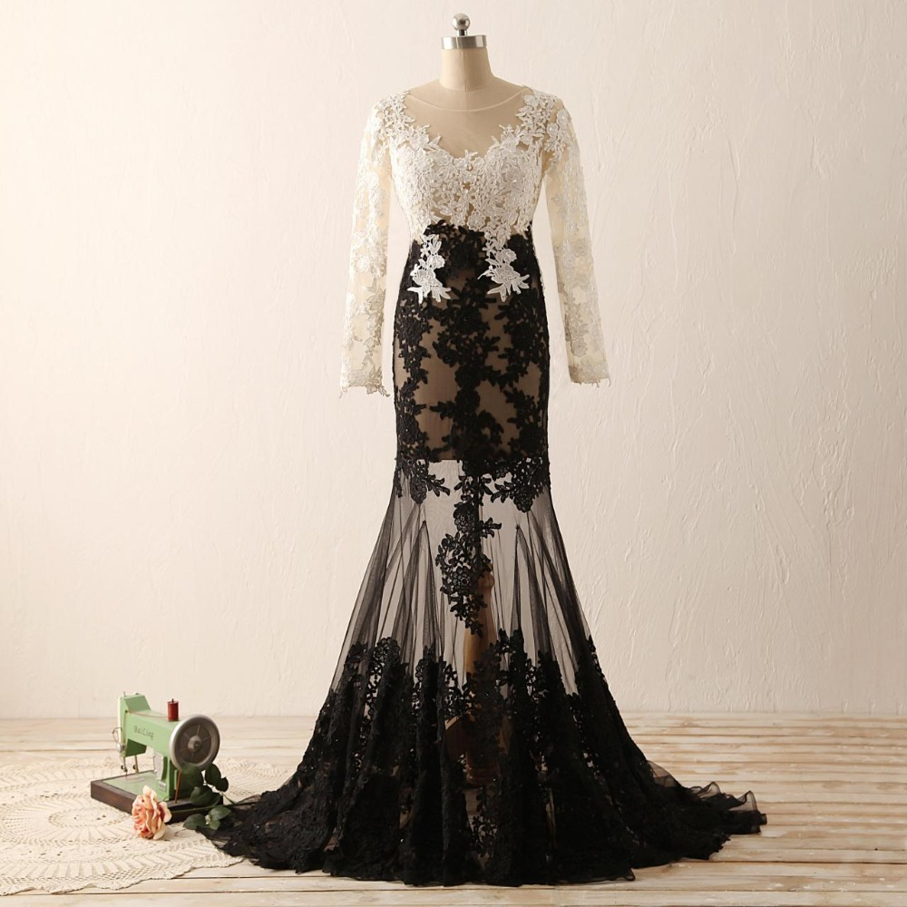 Aliexpress Com Buy Simple Elegant See Through Lace Part: Black And White Sexy Mermaid Lace Applique Long Sleeves