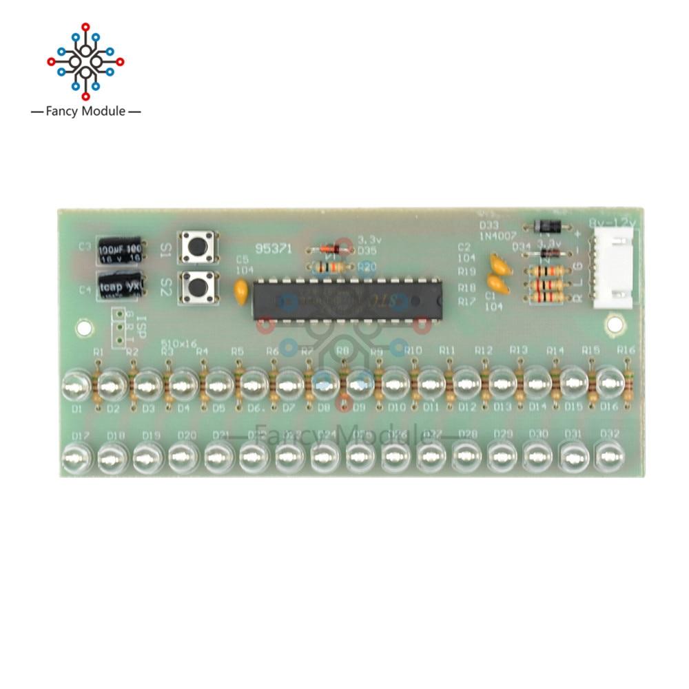 Mcu Adjustable Display Pattern Led Vu Meter Level Indicator Audio Amplifier 16 Dual Channel Green Lamp Light Dc 8v To 12v In Instrument Parts