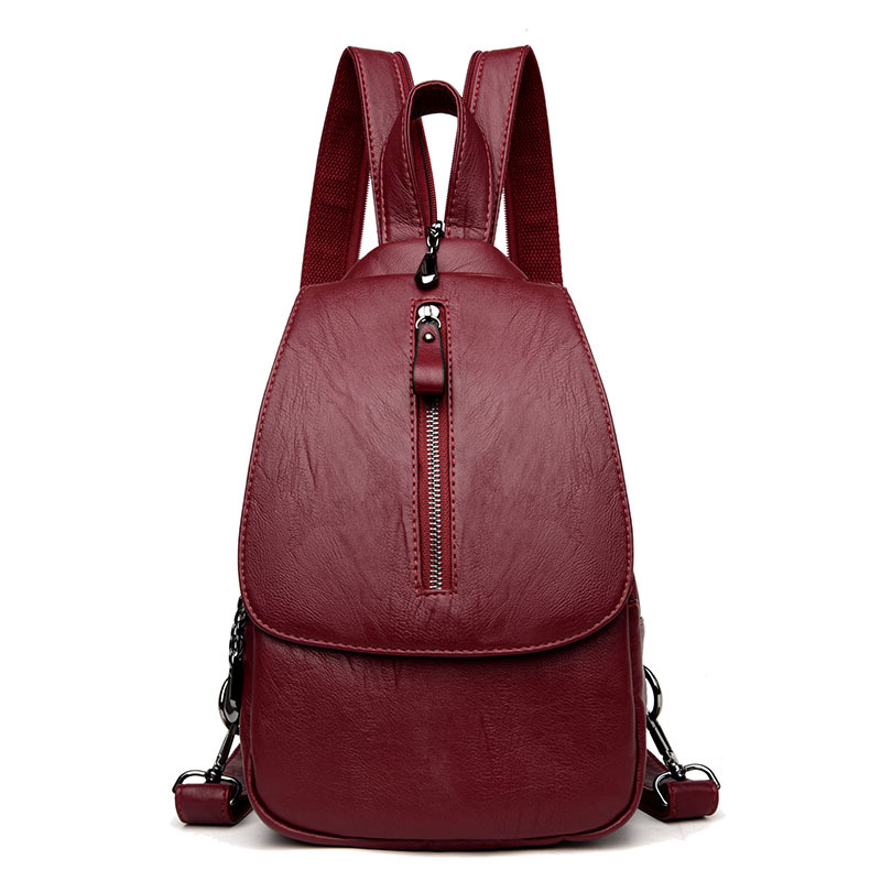 Fashion Shoulder Bag Backpack Multifunction Chest Women Leather Backpack School Bags for Teenage Girls Mochila Feminina Rucksack simple style backpack women genuine leather shoulder bag for teenage girls fashion vintage rucksack designer school mochila