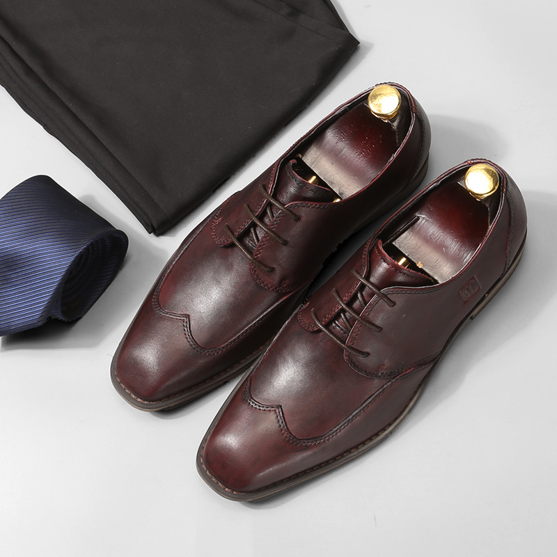 Italian luxury style business mens casual leather shoes high quality handmade real leather lace up oxfords brown/blackItalian luxury style business mens casual leather shoes high quality handmade real leather lace up oxfords brown/black