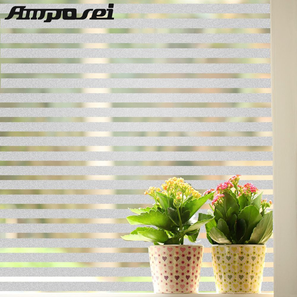 High Quality PVC Windows Glass Film 45*200cm Stripe Frosted Design Opaque Windows Decorative Stickers Fr Home Office Privacy -FE ...