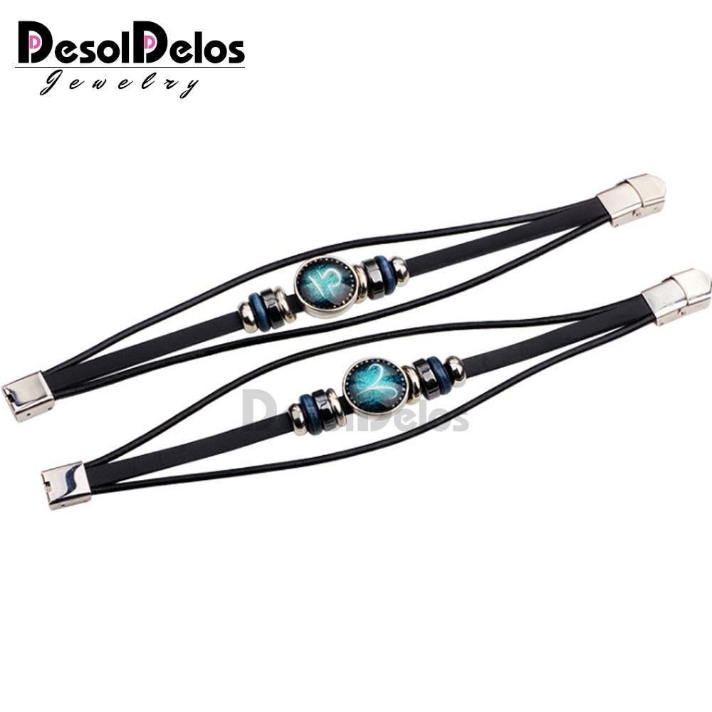 12pcs lot 12 Constellation Mens Bracelets Handmade Zodiac Signs Bracelet beaded Charm Leather Bracelet Punk Rock Men Jewelry in Charm Bracelets from Jewelry Accessories