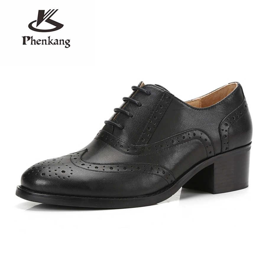Vrouwen echt lederen schoenen vrouw veters dikke hak pompen yinzo oxford handgemaakte brogues lente schoenen 2019 dames zomer schoenen