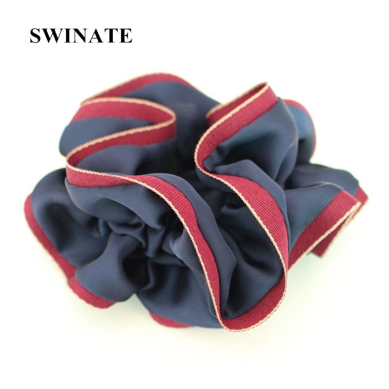 Fashion Women Blød Satin Fabric Patchwork Hairband Hair Tie Elegant - Beklædningstilbehør