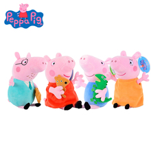 Original 4Pcs/set Peppa Pig 19cm Cartoon Stuffed Plush Toys George  Family Friend Party Dolls For Children Birthday Gifts