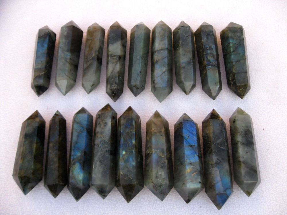 18 NATURAL Labradorite quartz crystal double point healing