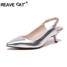 91ea5fc572c59a REAVE CAT grande taille 34-43 femmes d'été cristal Slingback sandales femme  chaton talon chaussures de fête mariée chaussures de.
