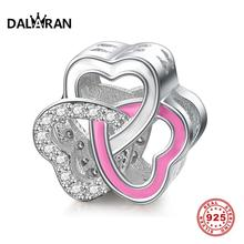 DALARAN Real 925 Sterling Silver Beads Pink Charms Fit Charm DIY Bracelet Necklace For Women Hand Fine Jewelry Accessories Gift