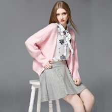 Autumn New Style Women's Plus Size Cute Pink Color Cardigans Fashion Girls' Lantern Sleeve Knitted Sweaters Jaqueta Veste SY681