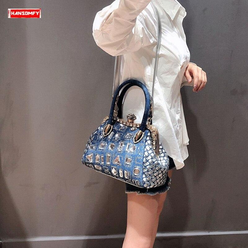 2019 luxe mode diamant femmes sacs à main femme nouveau crossbody sacs strass sac de soirée en bandoulière sac fille tissé sacs