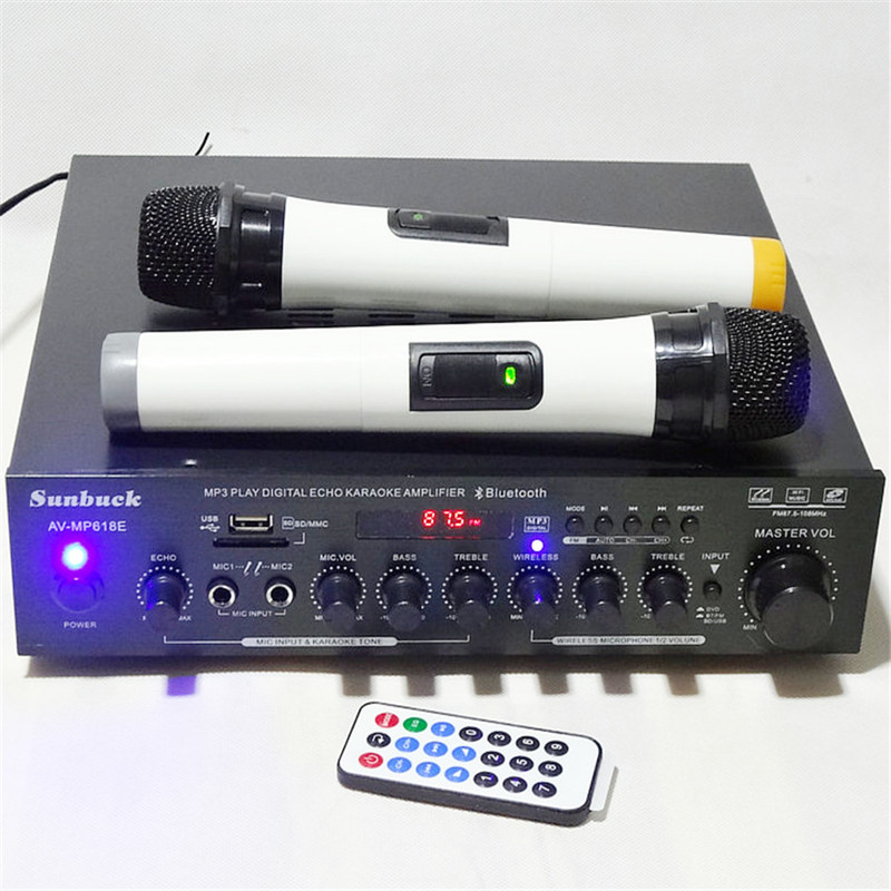 New AV MP618E Karaoke MP3 USB SD Card FM radio Bluetooth hifi 200W + 200W 2.0 Home Theater Audio Digital AV Amplifier