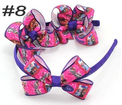 free shipping 50set 3'' boutique hair bows and headbands HairBands headband with Dis ney cartoon ribbon