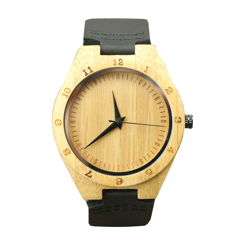 High Quality Unisex Bamboo Watch Women Casual Handmade Bamboo Watch With Scale Black Leather Men Natural Bamboo Quartz Watch