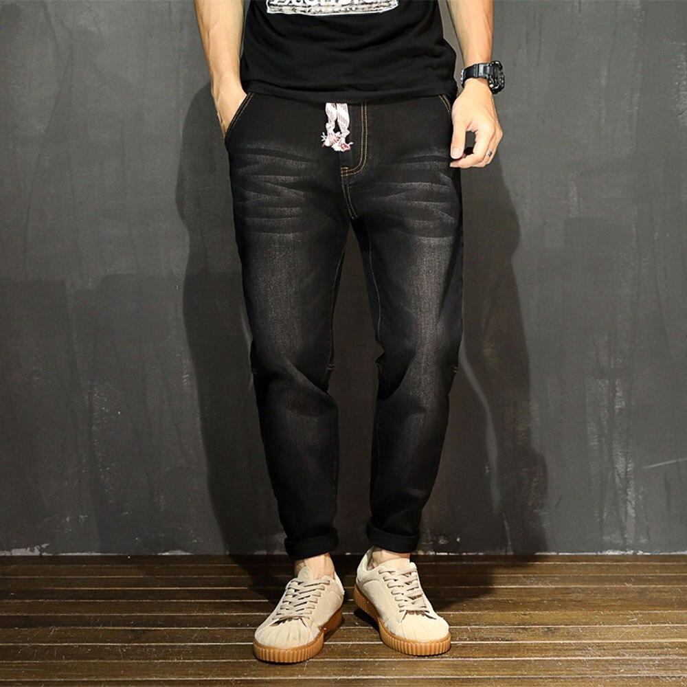 AudWhale Summer Men Loose Jeans Mid Waist Harem Denim Jeans Pants For Men Casual Ankle Length Male Solid Black Blue Jeans