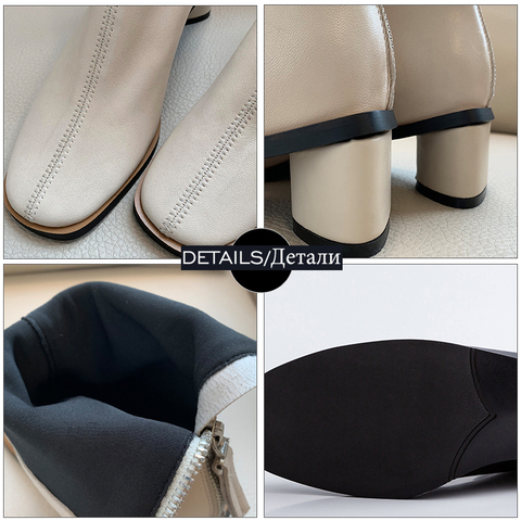 ISNOM Genuine Leather Ankle Boots Women Square Toe Booties Woman Fashion Shoes Female Thick Heels Zip Shoes Ladies Winter 2019 Multan