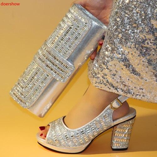 Doershow chaussures et sac ensemble chaussures de fête africaine et sac ensemble chaussures et sac en argent ensemble chaussures de mariage nigérian avec sac ensembles HXN1-10