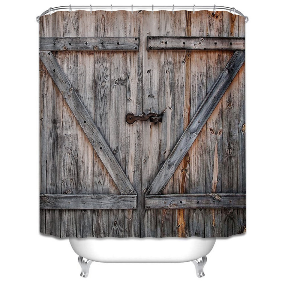 American country style polyester shower curtain old bronze wooden garage door vintage rustic for Country style bathroom shower curtains