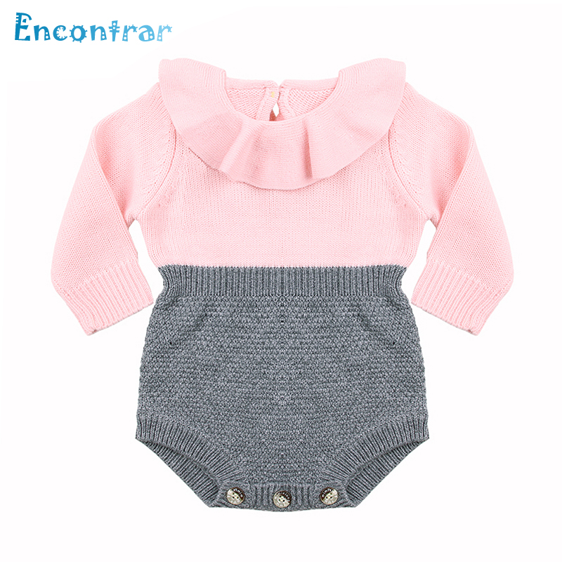 Encontrar Kid Spring Solid Long Sleeve Jumpsuit Baby Flower O-Neck Sweater Girl's Thread Knit Elastic Pullover 6M-24M,DC334 v neck solid color convertible jumpsuit