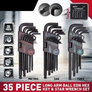 Image 1 - 2020 SEDY 35Pcs Lange Arm Ball Wrench Set End Hex Schlüssel Allen Wrench Set Universal Schlüssel Set Zoll Metric Mit fahrrad Reparatur Werkzeug Set