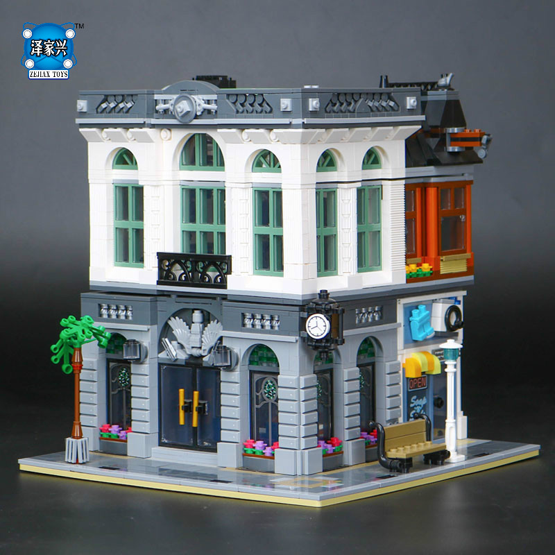 2018 New Street View Brick Bank Model Building Kits Blocks Bricks Toy Compatible  LEPINE Education Figures Toys Kid Gift lepine model