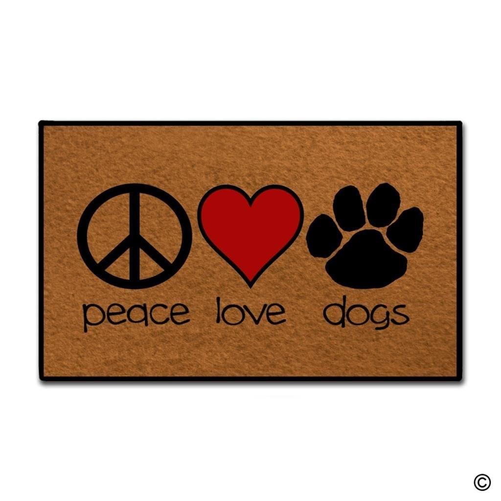 Entrance Doormat - Funny and Creative Doormat - Peace Love Dogs Door Mat for Indoor Outdoor Use Top 23.6x15.7Inch