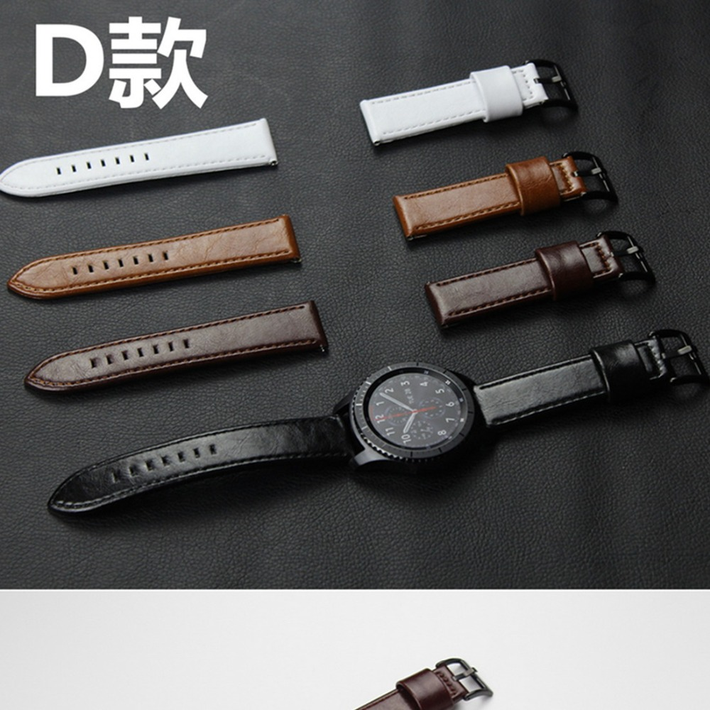 CRESTED 22mm Genuine leather strap for samsung Gear S3 Classic/Frontier band wrist watch strap repalcement belt & metal buckle france genuine leather watchband for samsung gear s3 classic frontier r760 770 double color watch band quick release wrist strap