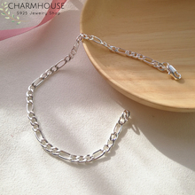 Pure 925 Silver Bracelets for Women 4mm Figaro Link Chain Bangle Bracel