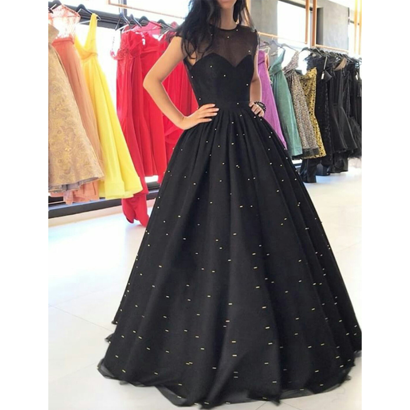 2019 Shinning Neck Black A Line   Prom     Dresses   with Sparkly Sequins Tulle Long Evening   Dresses   Formal Gowns