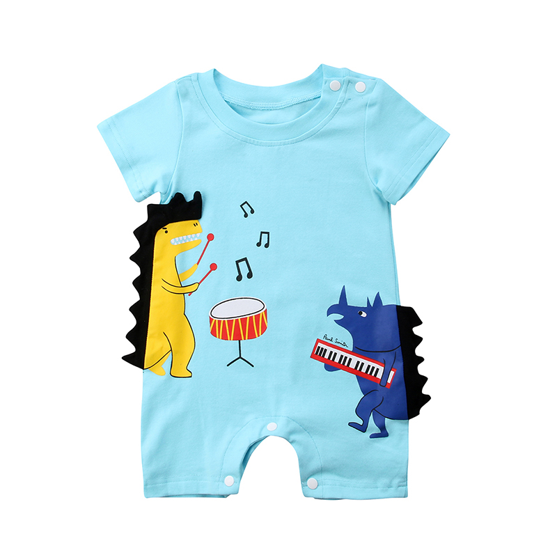 0-3Y Cute Newborn Baby Boy Cartoon Dinosaur Music print Cotton   Romper   Jumpsuit Outfits Summer Clothes