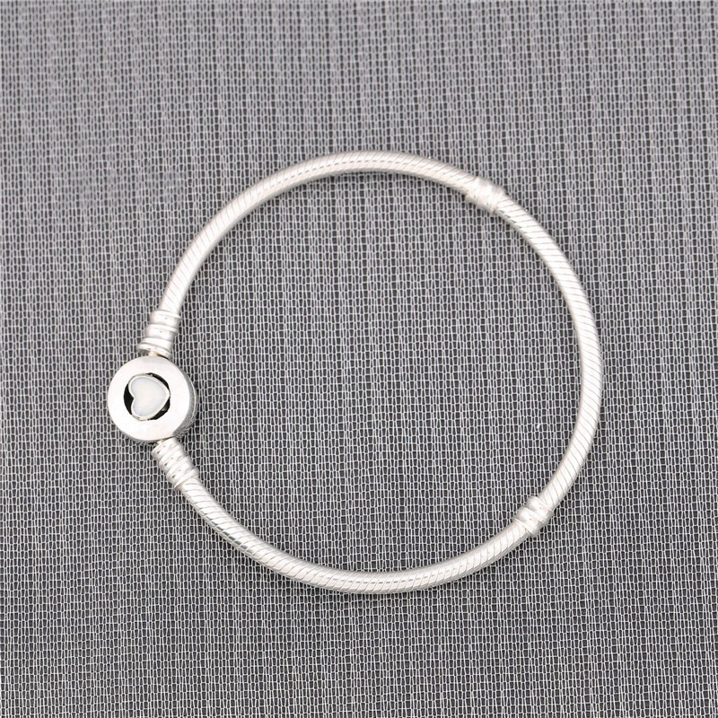 цена на Authentic 925 Sterling Silver Bead Charm Snake Chain Fit Original Pandora Bracelet with Glue Heart Clasp for Women DIY Jewelry