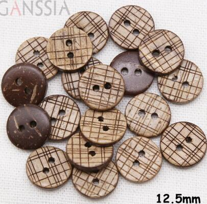 100pcs/lot Size:12.5mm Natural Coconut Wooden Buttons,2 Holes Button, Accssories Sewing,Flatback Buttons For Garment(ss-144)