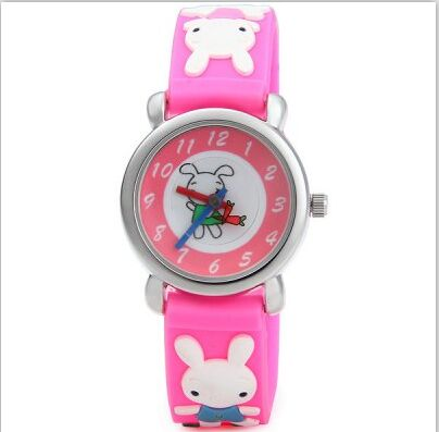 Cute Rabbit Cartoon Design 3Colors Leather Strap Fashion Leisure Wristwatches Watch for Boys Girls Students waterproof