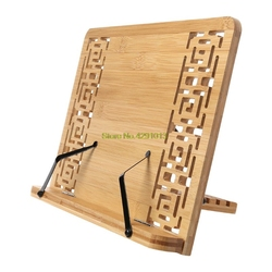 Bamboo Hollow Adjustable Reading Book Holder Tray Page Paper Clips Foldable Tablet Cookbook Portable Sturdy Bookstand
