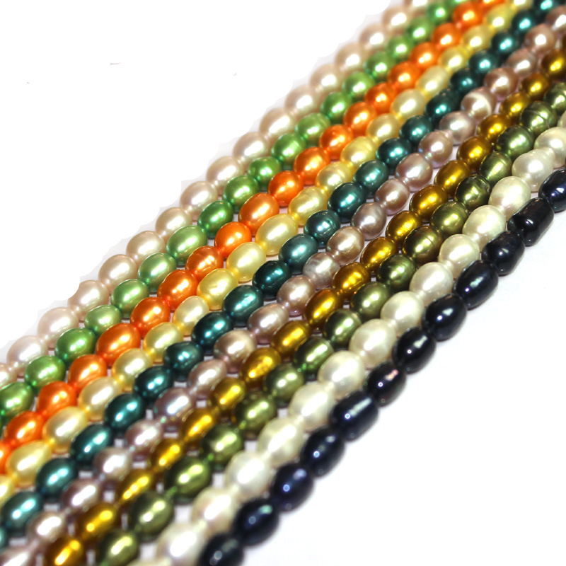 Free Shipping Choose the colors! Wholesale DIY Jewelry Findings 5-6mm Olivary Rice Freshwater Culuted Pearl BeadsStrand 15
