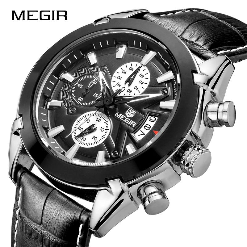 MEGIR Men Military Sports Watches Fashion Leather Band Quartz Wristwatches Stopwatch Men's Watch Waterproof Relogio Masculino
