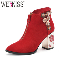 WETKISS Designer Applique Charming Ladies Ankle Boots Fashion Party Wedding Shoes Woman Suede Leather Pointed Toe