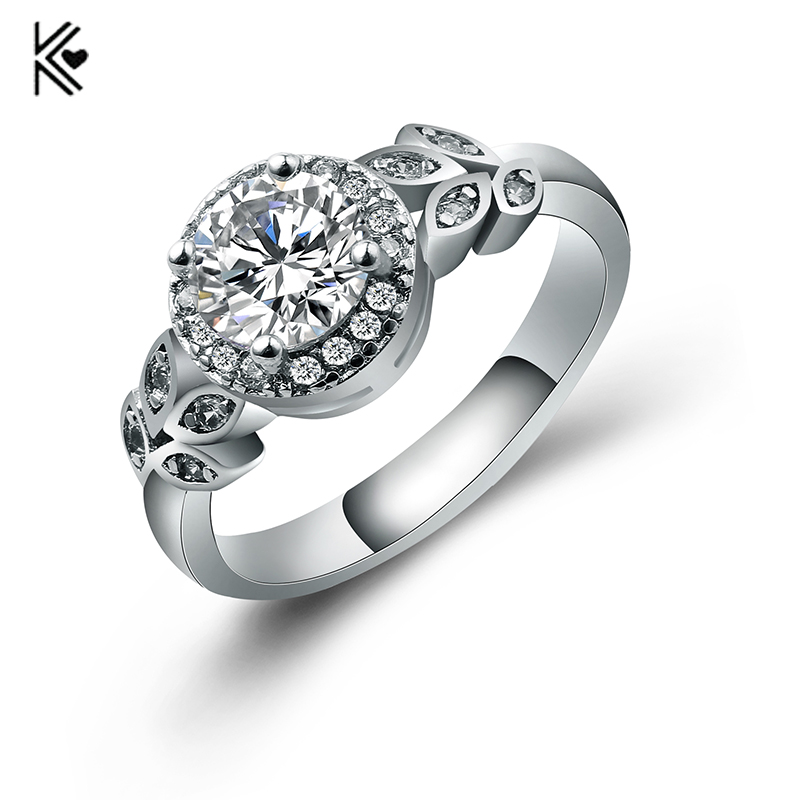 White CZ Round Zircon Rings for Women Double Flowers Style Jewelry Promise Engagement Rings For Her Beaded Ring Clusters 2018