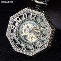 men pocket watches antique mechanical watches skeleton hot copper gift clock alloy case luxury chain BOAMIGO brand FOB watches