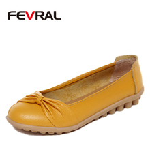 FEVRAL 2020 Spring And Summer Woman Oxford Shoes Ballerina Flats Shoes Woman Genuine Leather Shoes Moccasins Slip On Loafers