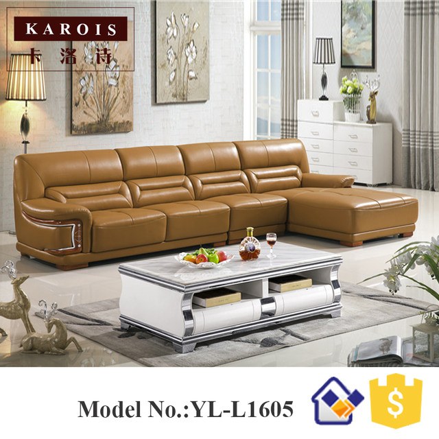 New Style Modern Corner Leather Sofa Designs Drawing Room Set Seccional De Cuero