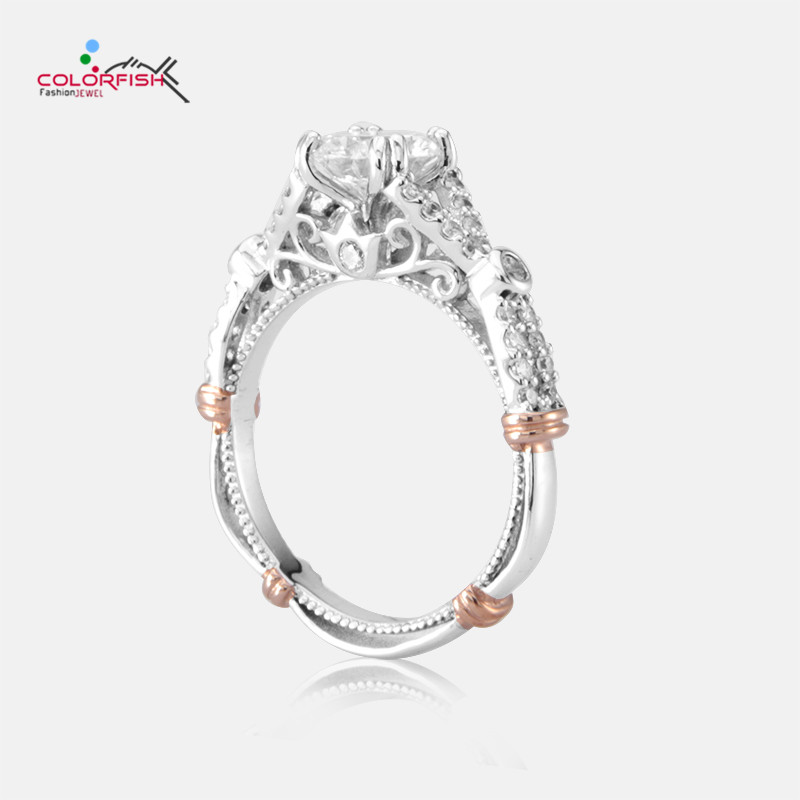 COLORFISH Women's Vintage Fashion Ring For Engagement Wedding Round 1.25 ct Solitaire Ring 925 Sterling Silver Rose Gold Color недорого