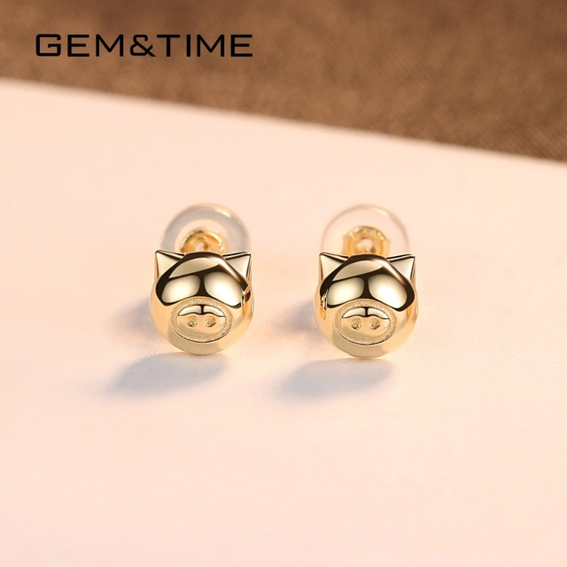 Lucky Pig 14K Gold Stud Earrings 3