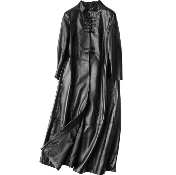 FäHig Frauen Echte Natürliche Leder Lange Jacke E1017-007 Haus & Garten
