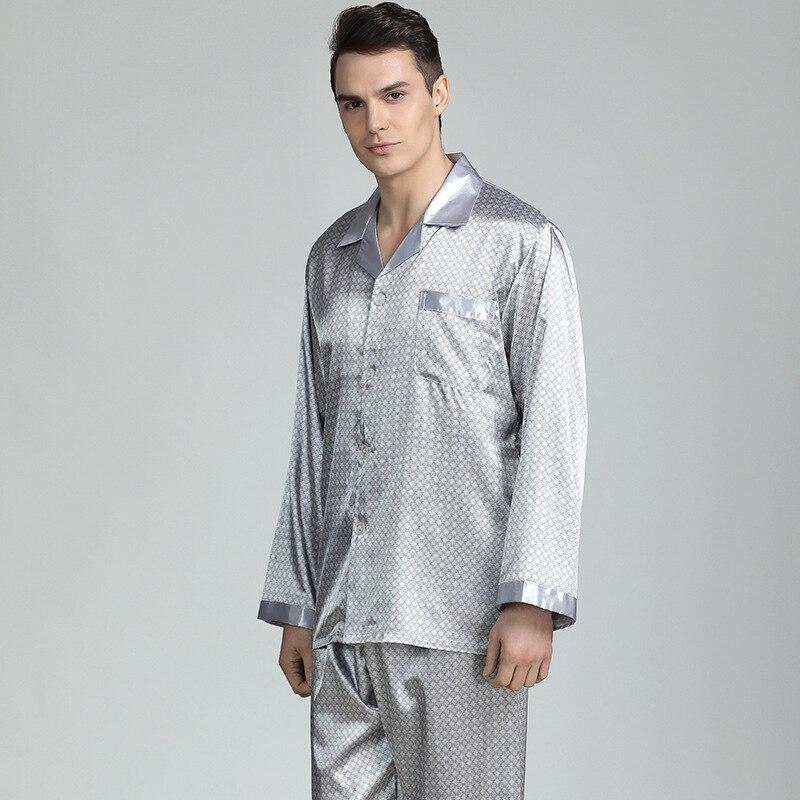 CEARPION Mens Satin Pajamas Set Long Sleeve Sleepwear Silky 2pcs Shirt&Pants Casual Nightgoen Lounge Wear 3XL Plus Size