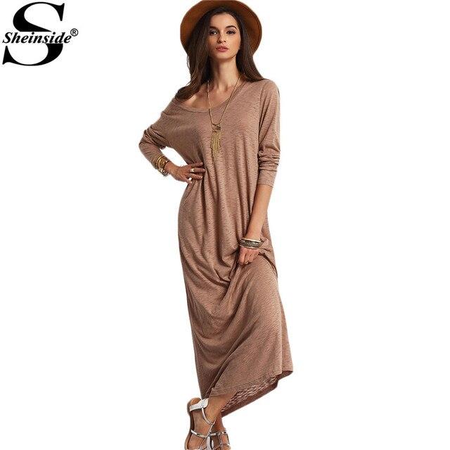 8372c0d907d90 Sheinside Casual Long Dresses Summer Style Beach Women Plain Apricot Scoop  Neck Long Sleeve Shift Maxi