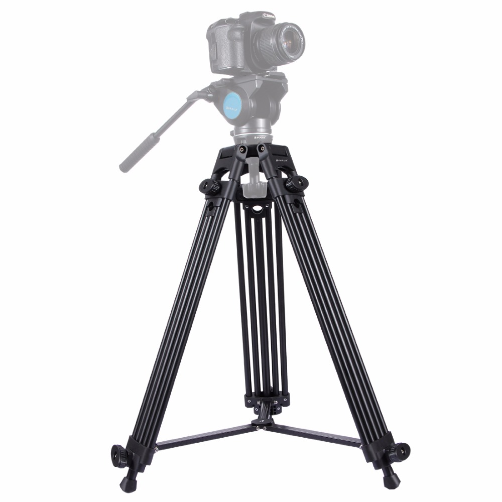 PULUZ Professional Heavy Duty Video Camcorder Aluminum Alloy Tripod for DSLR / SLR Camera, Adjustable Height: 62-140cm lowepro protactic 450 aw backpack rain professional slr for two cameras bag shoulder camera bag dslr 15 inch laptop