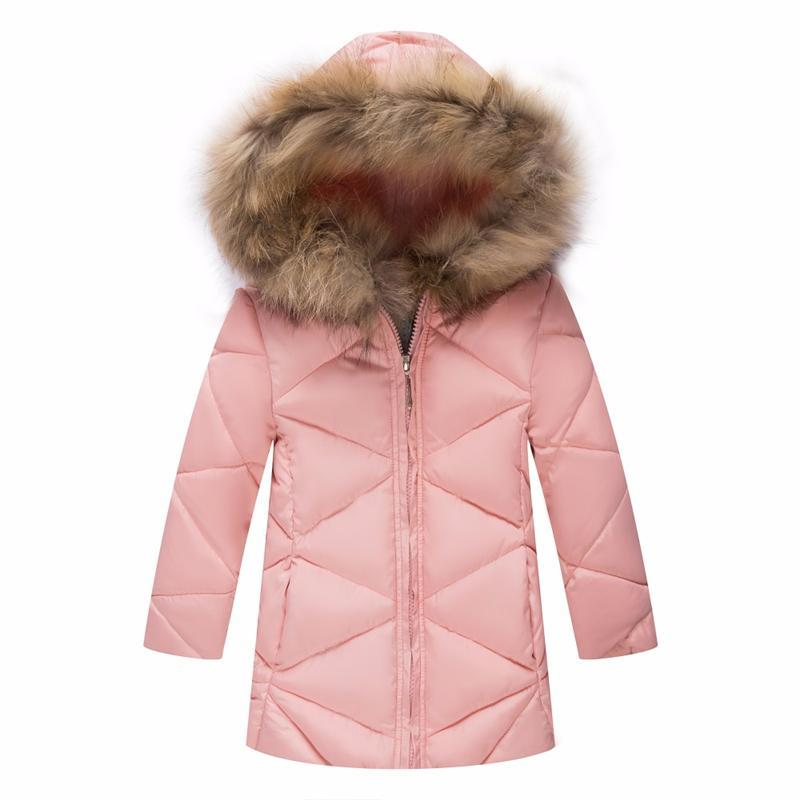 ФОТО New arrival 2017 Winter girls cotton-padded Jacket Gir fur collar jacket Children long section thick winter Slim Outerwear Coats