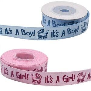 Image 3 - Ruban imprimé, 1 rouleau, 10Yards, il est un garçon et une fille, ruban en Satin pour fête prénatale, emballage cadeau, artisanat, rubans de noël, bricolage