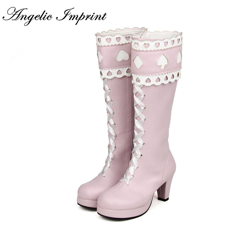 Alice in Wonderland Inspired Pincess Pink Boots 7cm Chunky High Heel Lace-up Sweet Lolita High Boots 8600 lolita pink white lace up high heel student shoes sweet lady cosplay platform chunky block mid calf short boots 43
