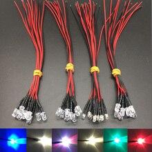 20 шт Лот 20 см Предварительно проводной 3 мм 5 мм светодиодный светильник лампа Prewired излучающие диоды для DIY украшения дома DC12V